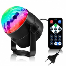 youoklight 6W 6-fargers LED RGB disco ball party lys, fjernkontroll strobe lys, AC100-240V (EU-plug)