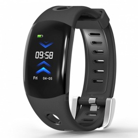DM11 IP68 Waterproof Color LCD Wristband Heart Rate Monitor Pedometer Smart Watch - Black