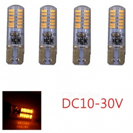 ZHAOYAO 4Pcs Highlighted T10 4W 500LM DC 10-30V 3014SMD-24LEDs Silicone Car LED Lights Yellow
