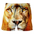 Men's 3D Lion Printed Casual Cotton Beach Short Pants Shorts (XXL)