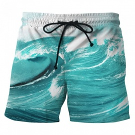 Men's Sea Wave Printed Casual Cotton Beach Short Pants Shorts (M)