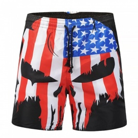 Men's 3D National Flag Skull Printed Casual Cotton Beach Short Pants Shorts (M)
