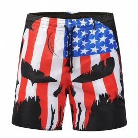 Men's 3D National Flag Skull Printed Casual Cotton Beach Short Pants Shorts (L)