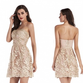 New Fashion Off-Shoulder Embroidery Bridesmaid Dress, Sexy Nightclub Dress - Beige / L