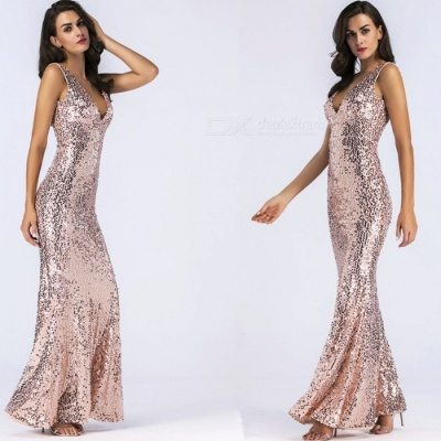 V-Neck Sexy Sleeveless Dress, Sequin Embroidered Evening Dress - Gold / S