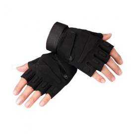 Ctsmart Outdoor Tractical Half-Finger Bike Riding Sun-resistant Gloves - Black (M)