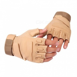 Ctsmart Outdoor Tractical Half-Finger Bike Riding Sun-resistant Gloves - Khaki (XL)