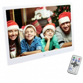 XSUNI 15 Inch Digital Photo Frame LED Backlight HD 1280 x 800 Electronic Album Full Function - White (EU Plug)
