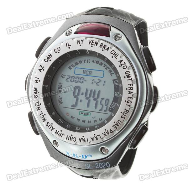 Universal TV/VCR/DVD Remote Controller Watch with World Time + EL Backlight (1*CR2032)