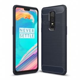 Naxtop Wire Drawing Carbon Fiber Textured TPU Brushed Finish Soft Phone Back Cover Case For OnePlus 6