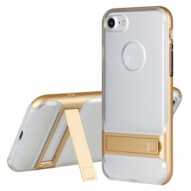 Naxtop 2-in-1 Transparent Soft TPU + Hard PC Bumper Dual Layer Back Cover with Bracket for IPHONE 7 - Golden