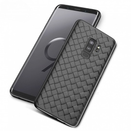 Measy Super Soft Phone Case Luxury Grid Weaving Case for Samsung Galaxy S9 Plus - Black