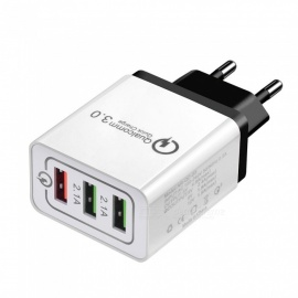 Cwxuan 18W Quick Charge 3.0 Mobile Phone Charger 3-Port USB EU Plug Fast Charging for IPHONE Xiaomi, Huawei, Vivo, Samsung