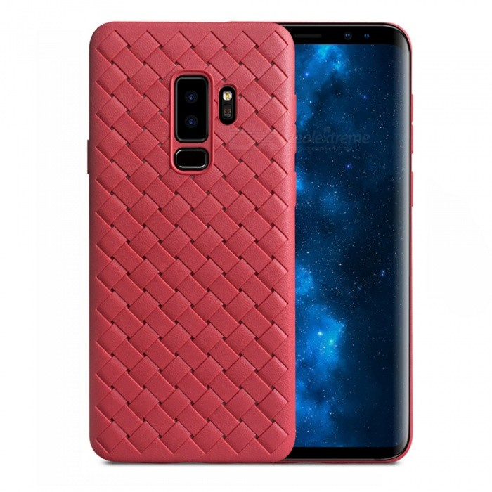 Measy Super Soft Phone Case�� Luxury Grid Weaving Back Cover for Samsung Galaxy S9 Plus - Red