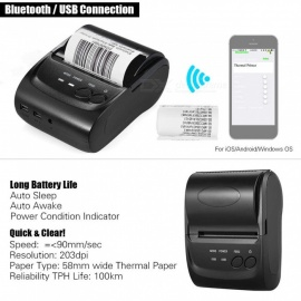 ESAMACT 5802DD mini tragbaren USB 58mm bluetooth thermodrucker, POS-Empfang barcode drucker für ios android windows