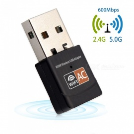 USB wi-fi adapter 600mbps trådløs wifi antenne mini ethernet nettverkskort dual band 2.4G / 5G wifi-mottaker 802.11a / g / n / ac for PC