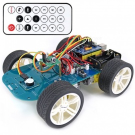 OPEN-SMART 4WD Wireless Wide Angle IR Remote Control Rubber Wheel Gear Motor Smart Car Kit with Tutorial for Arduino UNO R3 Nano