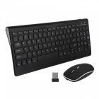 Rechargeable Quiet 2.4G Wireless Keyboard w/ Mouse for PC Laptop - Black
