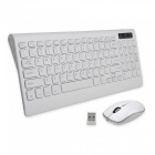 Rechargeable Quiet 2.4G Wireless Keyboard w/ Mouse for PC Laptop - White