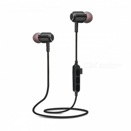 T15 Bluetooth In-Ear Wireless Magnetic Sweatproof Headset Earphone - Black