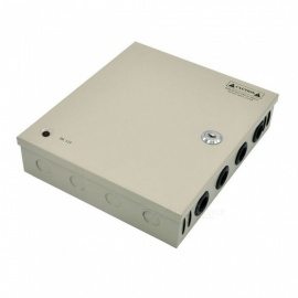 XSUNI 9 Channel 12V 10A 120W Centralized Box Security Monitoring Switching Power Supply - Silver