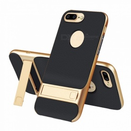 naxtop 2 in 1 nero morbido TPU + paracolpi per PC rigido cover posteriore a doppio strato con supporto per IPHONE 7 plus - dorato