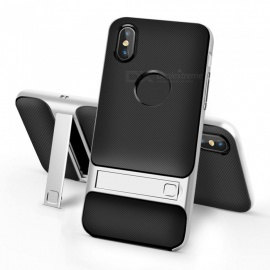 Naxtop 2-in-1 Black Soft TPU Back Cover+Hard PC Bumper Dual layer with Bracket for IPHONE X
