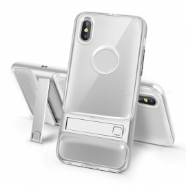 naxtop 2-in-1 transparante zachte TPU-cover + harde pc-bumper dual layer met beugel voor IPHONE X