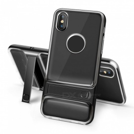 Naxtop 2-in-1 Transparent Soft TPU Back Cover+Hard PC Bumper Dual layer with Bracket for IPHONE X
