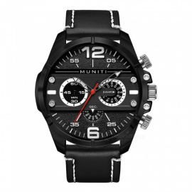 MUNITI 1012G Fashion  Men's  Sports Style Quartz Watch PU Leather Band 30M Waterproof - Black