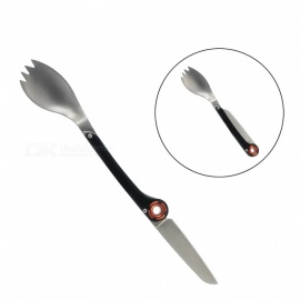 AceCamp Mini Portable Stainless Steel Taleware Cutlery, Folding Fork Spork Spoon Knife for Outdoor Camping Pinic