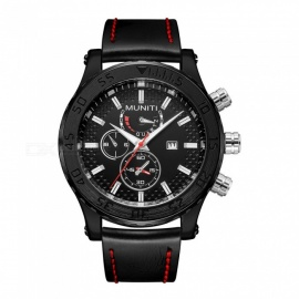 MUNITI 1016G Fashion Men's Sports Style Quartz Watch PU Leather Band 30M Waterproof - Black