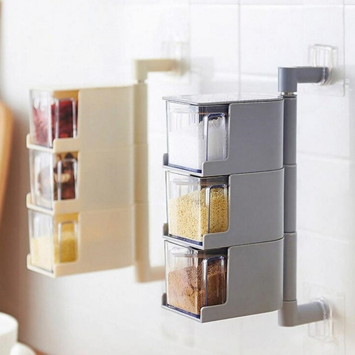 Creative Paste-Style 3-Layer Seasoning Box for Kitchen - Gray