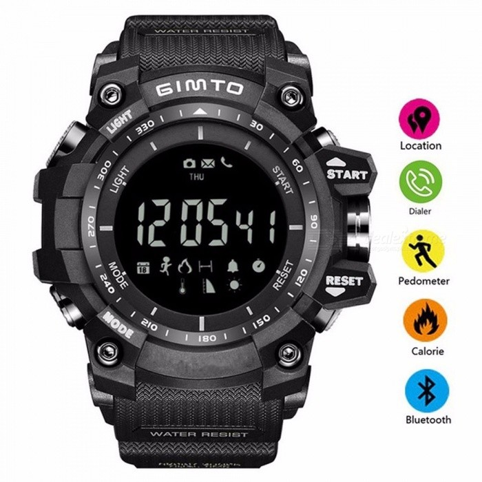 GIMTO New Men\'s Smart Sport Watches Stopwatch Digital LED Electronic Clock Man Army Military Waterproof Watch Black