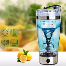 Electric Automatic Protein Shaker Portable Movement Mixing Mixer Vortex Tornado BPA Free Water Bottle 401-500ml/Clear