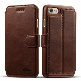 Measy Ultra Slim Premium PU Leather Wallet Case with Kickstand Card Holder and ID Slot for IPHONE 7/8 - Dark Brown