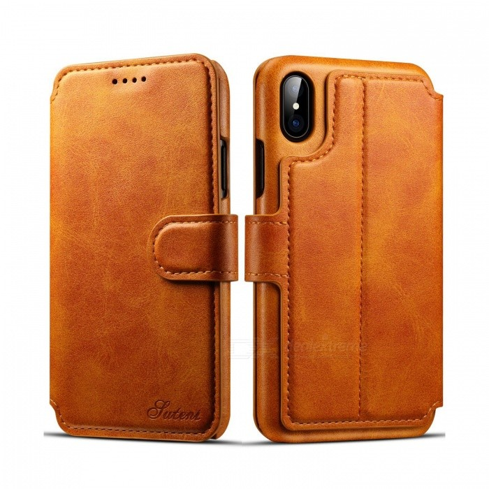 big sale bcf72 337bd Measy Flip Case Cover with Stand Function & Credit Card Slots for Apple  IPHONE X, Support Wirless Charging - Light Brown
