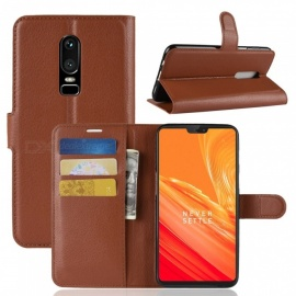 PU Leather Full Cover Wallet Phone Case for OnePlus 6 - Brown