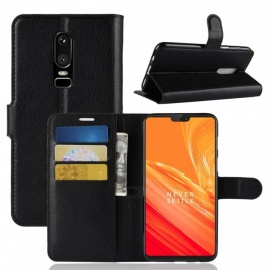 PU Leather Full Cover Wallet Phone Case for OnePlus 6 - Black