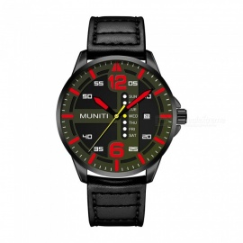 MUNITI 1017G Fashion Men's Sports Style Quartz Watch PU Leather Band 30M Waterproof - Black +Red