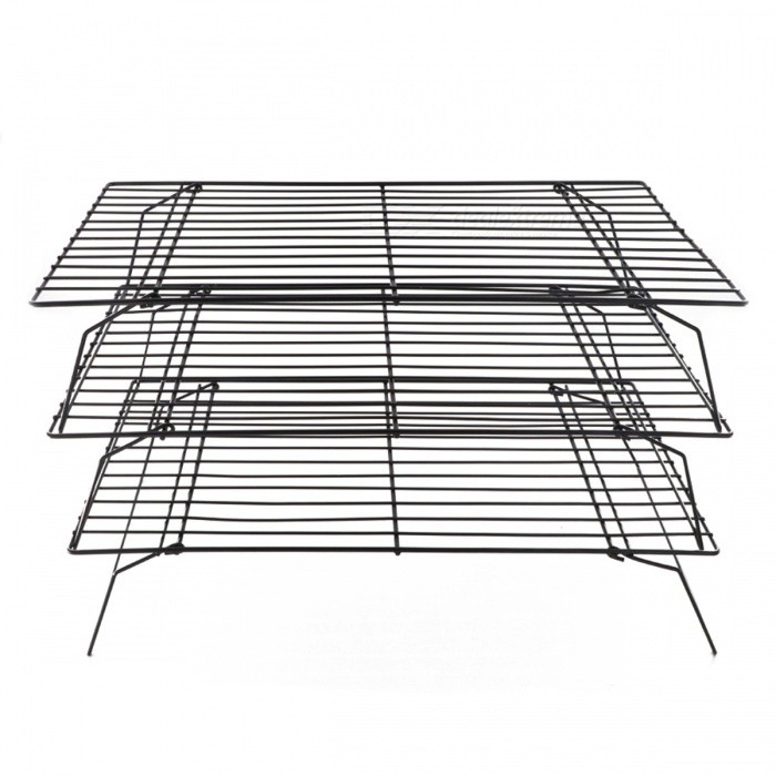 BSTUO 3 Layer Cooling Rack Stainless Steel Nonstick Drying Stand Foldable Cookies Cakes Bread Cool Holder