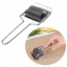BSTUO Stainless Steel Noodle Lattice Roller Docker Dough Cutter Pasta Spaghetti Cooking Maker - Silver