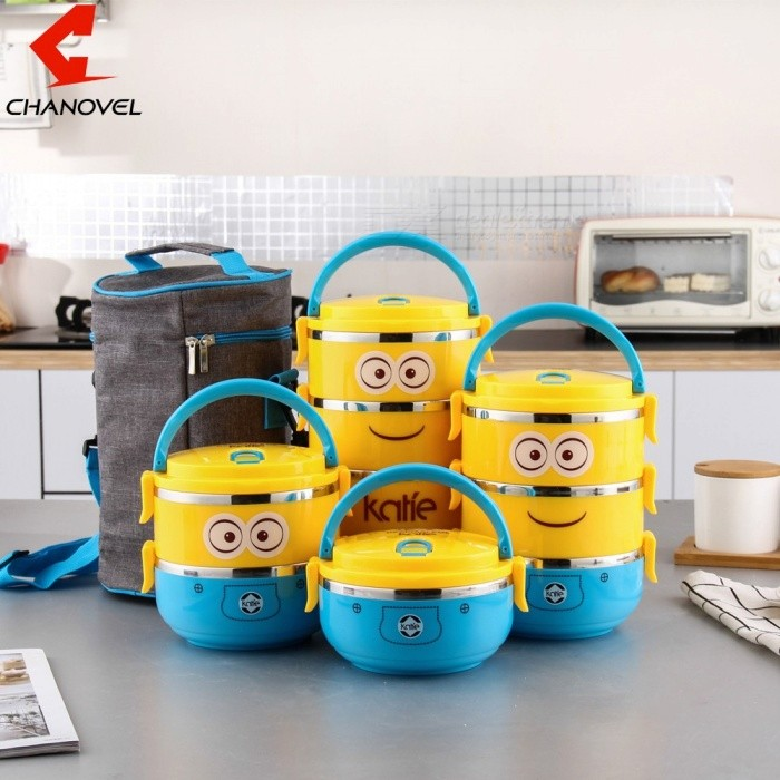 Cute Cartoon Round Lunch Box For Kids Plastic Tiffin Boxes Thermal Stainless Steel Dinnerware Set 2-Yellow