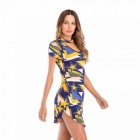 2018 New Model Spring And Summer Women\'s Dress V-neck Halter Slim Packed Hip Colorblocked Short Sleeve Dress Multi/L