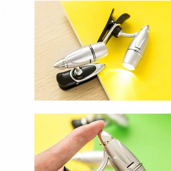 New Bullet Clip-on LED Book Light Nightlight, Portable Table Lamp Flashlight, Mini Reading Button Lamp