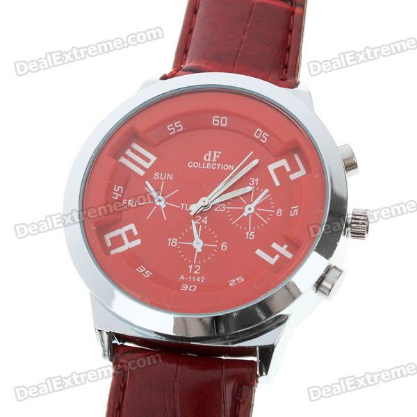Stylish Quartz Wrist Watch with Metal Dial + PU Leather Band - Red (1*377)
