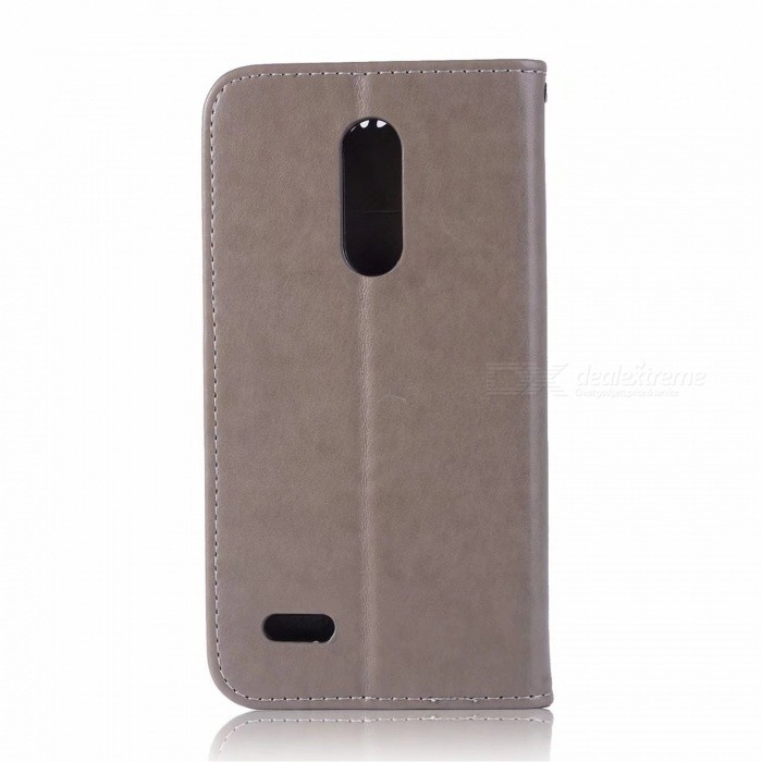Flip Pattern Full Body Owl Dream Catcher Hard PU Leather Case, Card Holder Wallet with Stand for LG K10 2018 - Gray