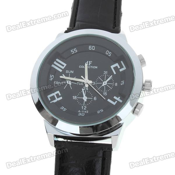 Stylish Quartz Wrist Watch with Metal Dial + PU Leather Band - Black (1*377)
