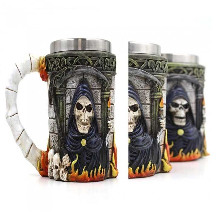 ZHAOYAO Creative 350ml 3D Stereo Stainless Steel Ghost Head MugเธƒเธŒ Skull Death CupเธƒเธŒ Coffee Travel Canecas Mug for Party (3 PCS)