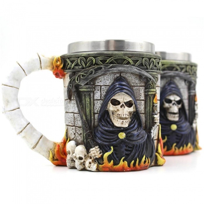 ZHAOYAO Creative 350ml 3D Stereo Stainless Steel Ghost Head MugเธƒเธŒ Skull Death CupเธƒเธŒ Coffee Travel Canecas Mug for Party (2 PCS)